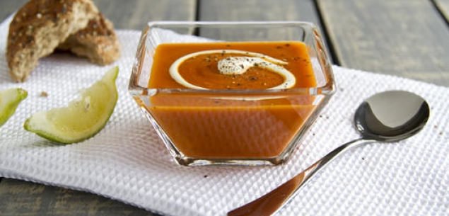 Иллюстрация к рецепту создания томатного супа с маскарпоне от Beka