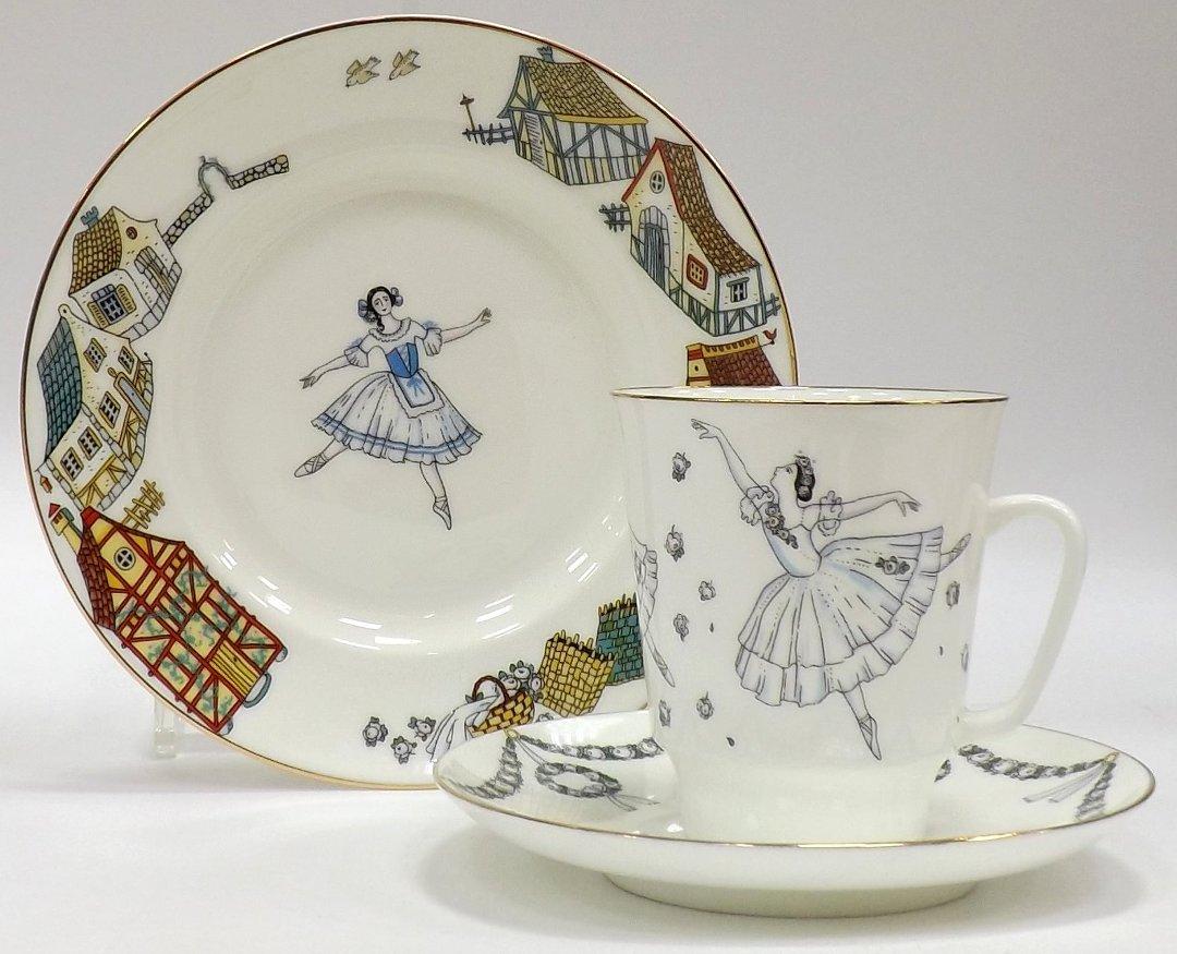 Кофейный набор из трёх предметов от ИФЗ, исполненный в форме Майская с изображениями на тему балета Жизель