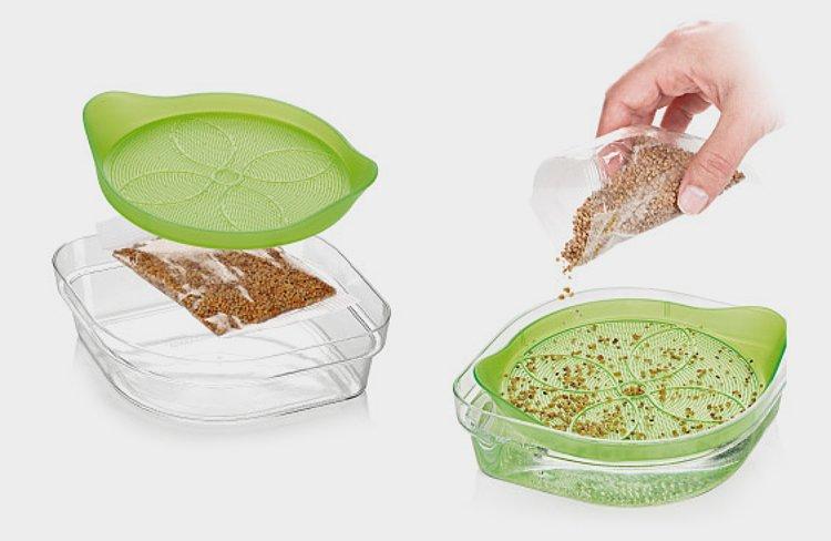 Чаша для проращивания семян от Tescoma SENSE: иллюстрация способа использования