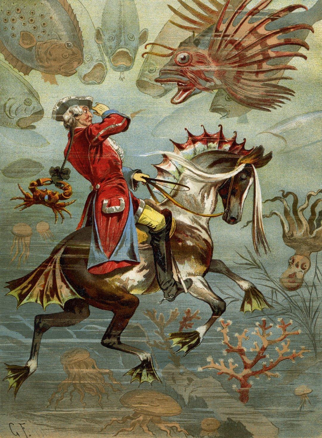 Иллюстрация с Мюнхгаузеном на коне под водой к книге Рудольфа Эриха Распе, созданная Готфридом Францем