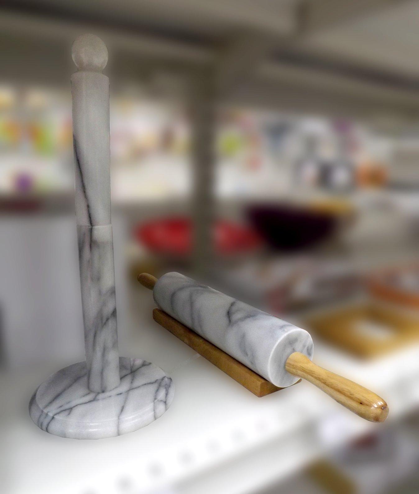 Мраморные держатель для полотенец и скалка от Premier Housewares из ассортимента магазина Посуда40.рф