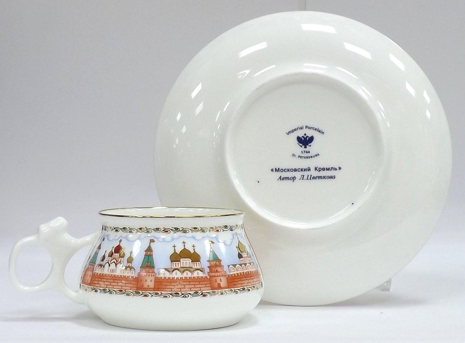 Чашка с блюдцем «Московский Кремль» — форма Билибина — от ИФЗ