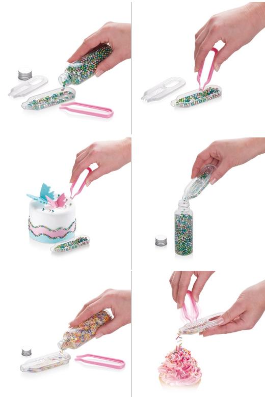 Иллюстрация вариантов декорирования кондитерских изделий посыпкой с помощью дозатора DELICIA DECO от Tescoma