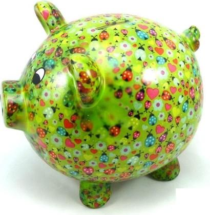 Копилка Pomme-Pidou Свинья Big Peggy XL зелёная с божьими коровками 148-00026/C