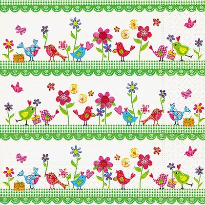 Салфетки для декупажа Семья птиц, 33x33см, 3 слоя, 20шт Paper+Design LN0710