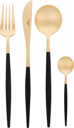 Набор столовых приборов Cutipol Goa Matte Black Gold, 24 предмета, матовое золото, чёрная ручка 9262