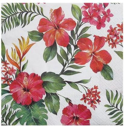 Салфетки ланч 3-х слойные Гавайские цветы, 33x33, 20шт Paw SDL090700