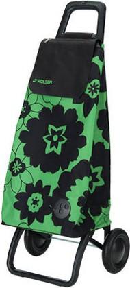 Сумка-тележка хозяйственная чёрно-зелёная Rolser RG MOUNTAIN MOU052verde/negro