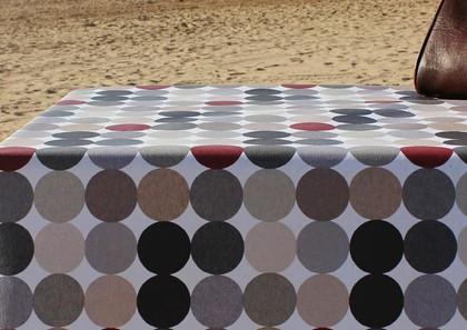 Скатерть текстильная 140х100см, коричневые круги Aitana Hooper HOOP/140100/blan