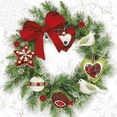 Салфетки для декупажа Рождественский венок 33x33см, 3 слоя, 20шт Paw SDL081800