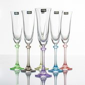 Набор фужеров для шампанского Александра-Арлекино 6шт, 190мл, цвет.ножка Crystalite Bohemia 1SD70/190/230176S
