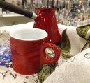 Керамическая турка для кофе 0.5л и чашка, набор 2пр, красный Ceraflame IBRIKS J72116