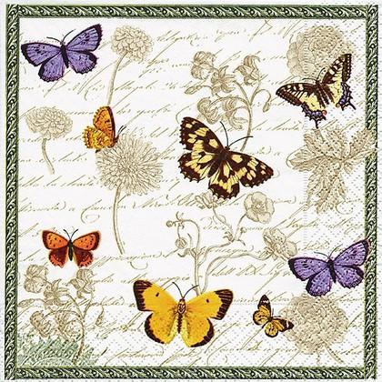 Салфетки для декупажа Винтажные бабочки, 33x33см, 3 слоя, 20шт Paper+Design 21647