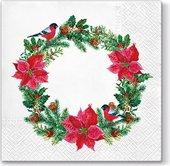 Салфетки для декупажа Paw Снегири на рождественском венке, 33x33см, 20шт. SDL012100