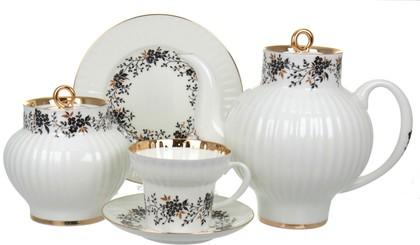 Сервиз чайный ИФЗ Волна, Тонкие веточки, с отводкой, 20 предметов 81.20897.00.1