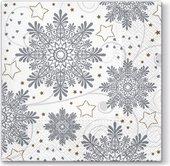 Салфетки для декупажа Paw Снежинки серебряные, 33x33см, 20шт. TL648000