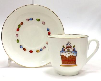 Чашка с блюдцем чайная Пасха и Кулич, ф. Ландыш ИФЗ 81.23095.00.1