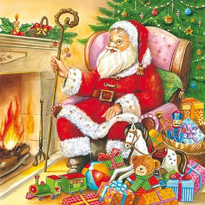 Салфетки для декупажа Paw Санта у камина 33x33см, 20шт SDL071800
