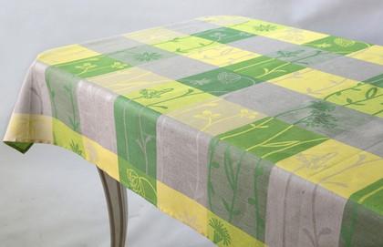 Скатерть Белорусский лён Лирика 145x160см жёлто-зелёная 10c784/145x160/689/24
