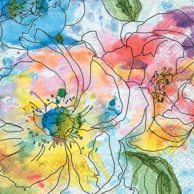 Салфетки ланч Акварель цветов, 33x33см, 20шт Paper+Design 200260