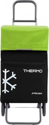Термосумка-тележка хозяйственная чёрная с зелёным лаймом Rolser RG THERMO TER037negro/lima