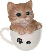 Статуэтка Art Atelier Котёнок в чашке 13x12.8x14.6см, полистоун HA2405-A