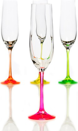 Бокалы для шампанского Crystalite Bohemia Неон, 4шт., 190мл 40729/190/neonх4