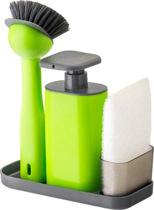 Дозатор моющего средства с щёткой для посуды и губкой на подставке Vigar Rengo 7169