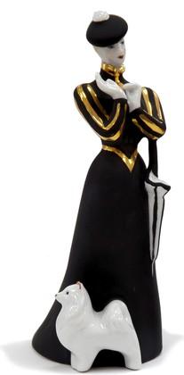 Статуэтка Дулёвский фарфор Дама с собачкой, черная ДС669