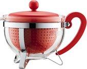 Чайник заварочный сито-фильтр, красный, 1.0л Bodum Chambord 1975-294