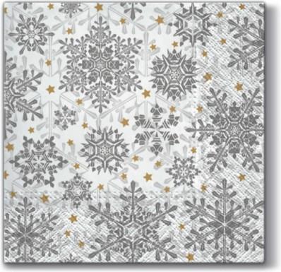 Салфетки Светящиеся звезды, серебро 33x33, 3-сл, 20шт Paw SDL074808