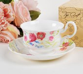 Чайная пара для завтрака Луговые маки акварелью 400мл Top Art Studio LD2231-TA