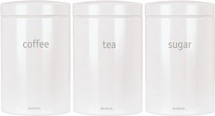 Набор из 3 стальных контейнеров для кофе, чая и сахара 1.4л, белый Brabantia 114144