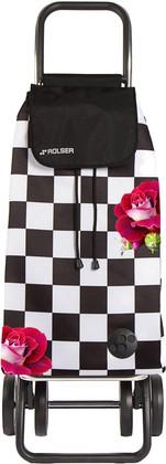 Сумка-тележка хозяйственная чёрно-белая с розами Rolser DOS+2 MOUNTAIN MOU129f-tres