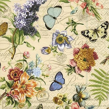 Салфетки для декупажа Летние бабочки, 33x33см, 3 слоя, 20шт Paper+Design 21874