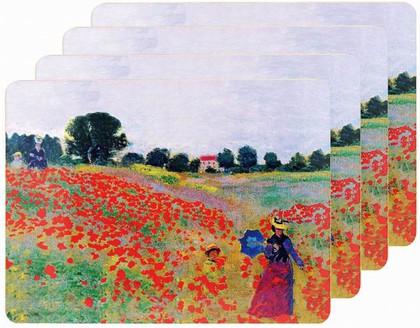 Подставки на пробке Моне Маковое поле 4шт 30x20см The Leonardo Collection LP92786