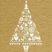 Салфетки для декупажа Ёлка золото, 33x33см, 3 слоя, 16шт Paper+Design 64020