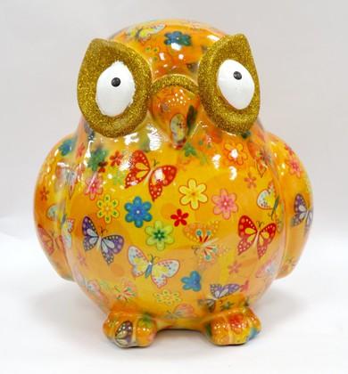 Копилка Pomme-Pidou Большая Сова Big Errol XL жёлтая с бабочками и цветочками 148-00061/2