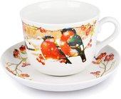 Чашка с блюдцем Дулёвский фарфор Ностальгия, Снегири, 450мл Д07281