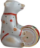 Скульптура Дулёвский фарфор Мишка с барабаном Д08642