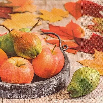 Салфетки для декупажа Осенние фрукты, 33x33см, 3 слоя, 20шт Paper+Design 22014