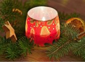 Свеча Рождественский пирог, стакан 8x7.5см Bartek 5907602643817