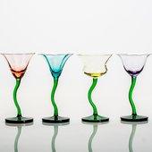 Набор фужеров для мартини Цветы 4шт, 190мл Crystalite Bohemia 458370/190/BVx4