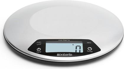 Цифровые кухонные весы 5кг/1г из нержавеющей матовой стали Brabantia 480560