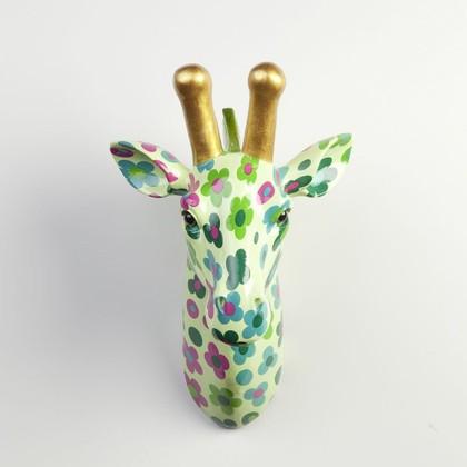 Фигура на стену Pomme-Pidou Жираф Мэдди, зелёный в цветочек 148-00256