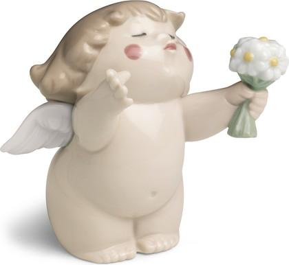 Статуэтка фарфоровая Ангелочек с букетом (Flowers For You) 7см NAO 02005059