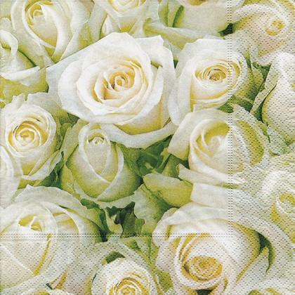 Салфетки коктейль Белые розы, 25x25см, 3 слоя, 20шт Paper+Design 11454