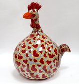 Копилка Курица BIG MARIE голубая в сердечки Pomme-Pidou 148-00125/5