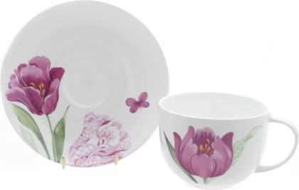"""Чайная пара для завтрака """"Тюльпаны"""" 400мл Roy Kirkham COIKTUL1166"""
