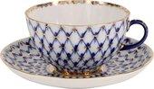 Чашка с блюдцем ИФЗ Тюльпан, Кобальтовая сетка, подарочная упаковка 81.27722.00.1